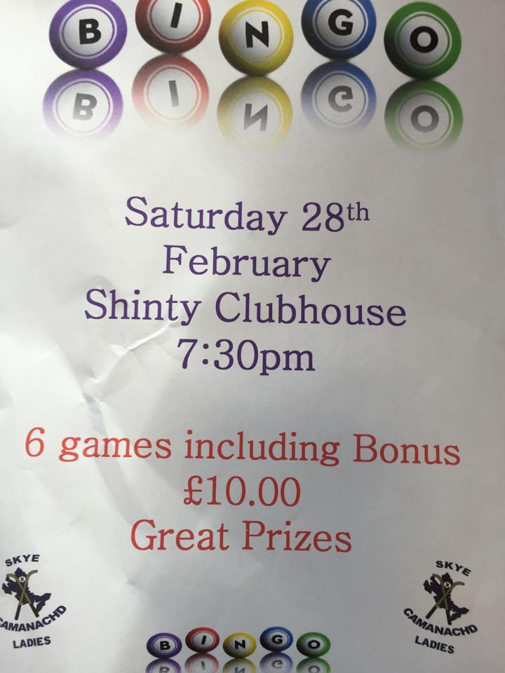 Skye Camanachd Ladies Host Successful Bingo Night